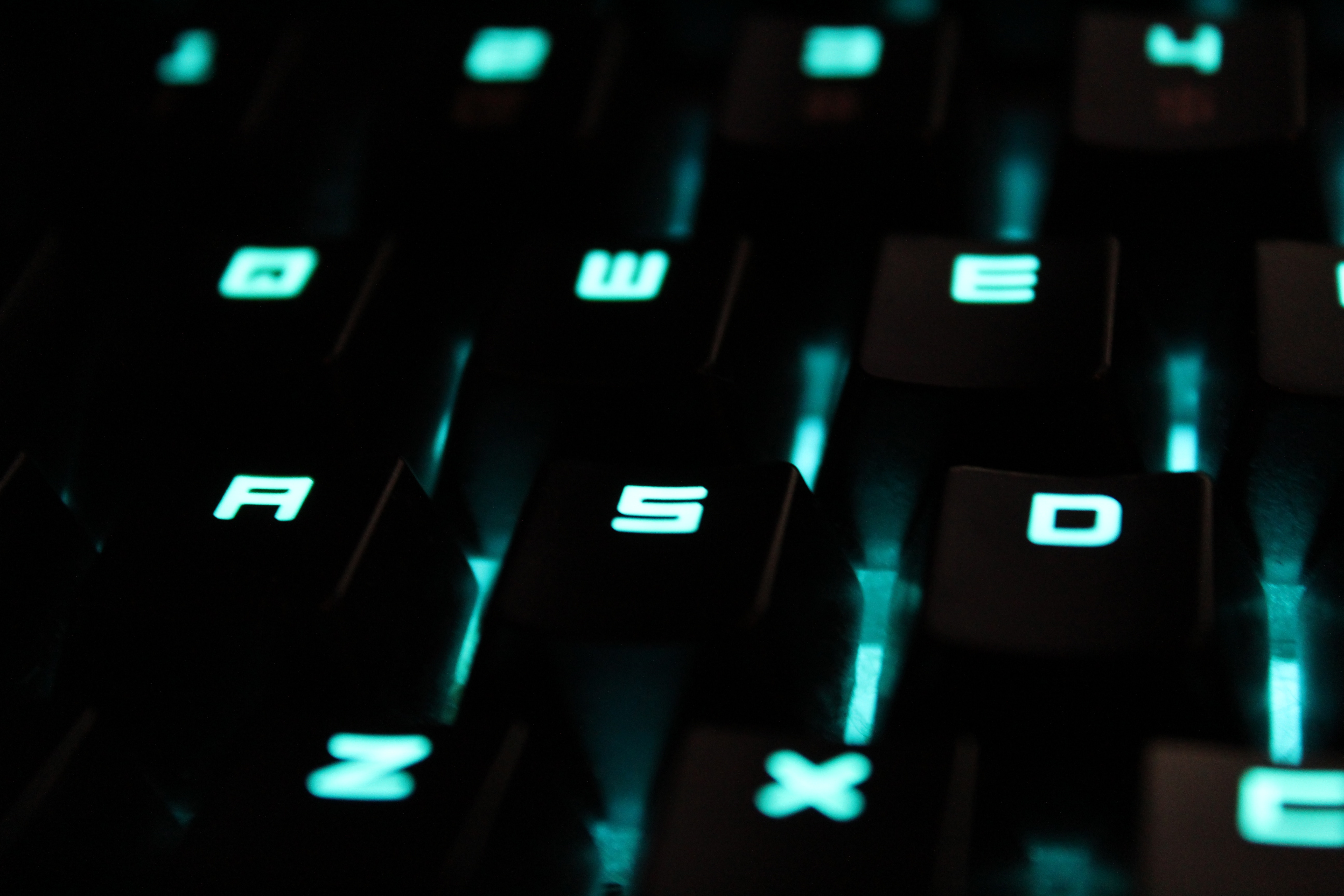 Glowing blue keys