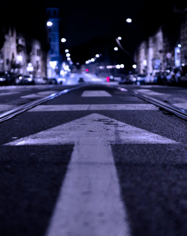 An arrow painted on a street