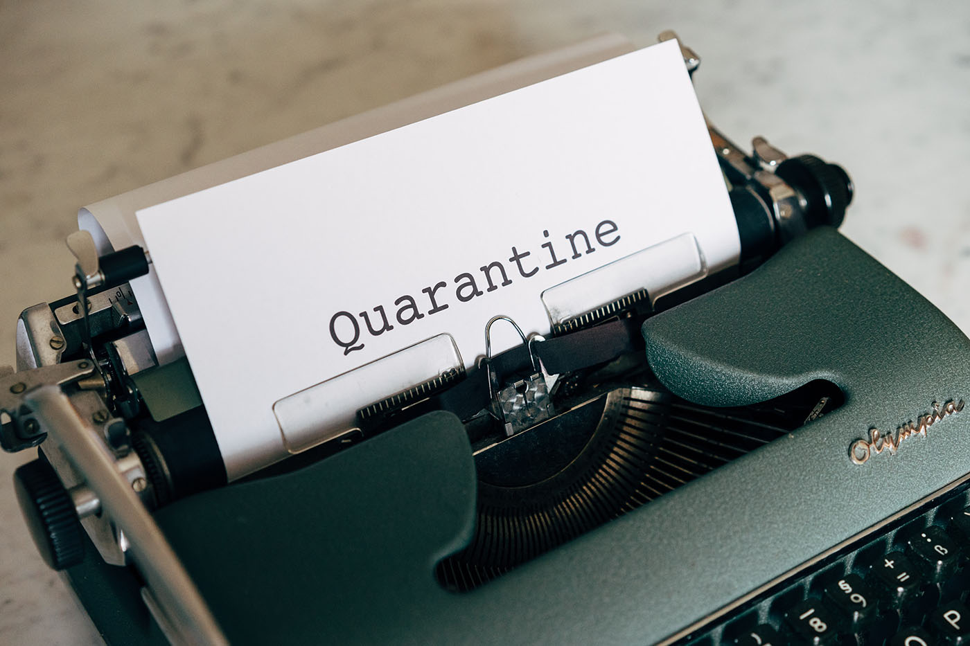 quarantine printed on a piece of paper